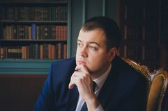 Businessman is thinking Royalty Free Stock Images