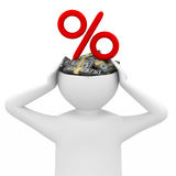 Businessman thinks of money. Isolated 3D image Royalty Free Stock Photo