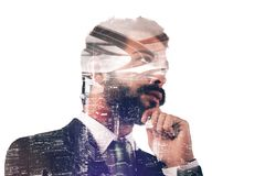 Businessman thinks new strategies. Double exposure of a thoughtful businessman with complex road and skyscrapers vector illustration