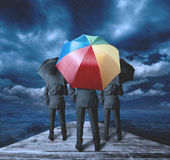 Businessman thinks positively. During the storm Royalty Free Stock Image
