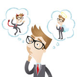 Businessman with thought bubbles, angel, devil royalty free illustration