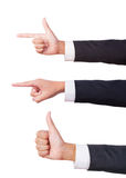 Businessman three hand sign Stock Photography