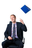 Businessman throwing away folder with documents Royalty Free Stock Images
