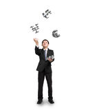 Businessman throwing and catching sliver money symbols. Businessman throwing and catching 3D sliver money symbols isolated in white background royalty free stock photography