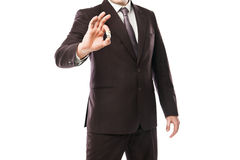 Businessman throwing dices isolated on white Stock Photo
