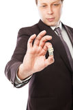 Businessman throwing dices isolated on white Royalty Free Stock Photo