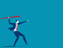 Businessman throwing the javelin. Concept business illustration. Vector flat Royalty Free Stock Photos