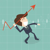Businessman throwing a javelin upwards -   growth arrow chart Royalty Free Stock Photos
