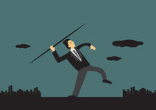 Businessman Throwing Javelin Vector Illustration Royalty Free Stock Photos