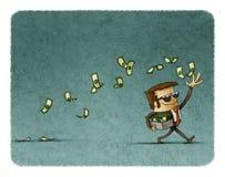 Businessman throwing money Stock Image