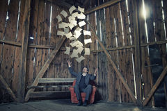 Businessman Throwing Papers Royalty Free Stock Photo
