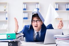 The businessman throwing white flag and giving up. Businessman throwing white flag and giving up Stock Photography
