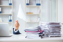 The businessman throwing white flag and giving up. Businessman throwing white flag and giving up Royalty Free Stock Images