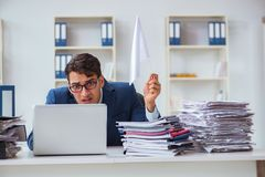 The businessman throwing white flag and giving up. Businessman throwing white flag and giving up Stock Photos