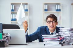The businessman throwing white flag and giving up. Businessman throwing white flag and giving up Stock Images