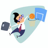 Businessman throws a basketball into the basket business theme s Royalty Free Stock Photos