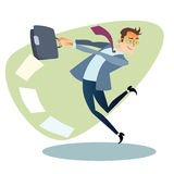 Businessman throws the briefcase like a hammer business sports c Royalty Free Stock Photography