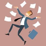 Businessman throws paper. Work behind the dismissal, Friday or madness. Businessman throws paper royalty free illustration