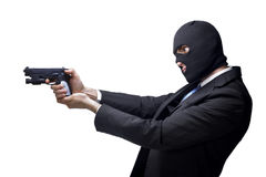 Businessman thug with a gun Royalty Free Stock Photos