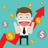 Businessman thumb up for arrow up and profit Stock Photography