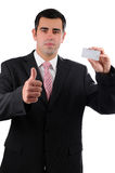 Businessman with thumb up holding business card Royalty Free Stock Photography