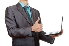 Businessman thumb up pc Royalty Free Stock Photos