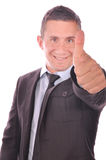 Businessman thumb up, it's great success Royalty Free Stock Images