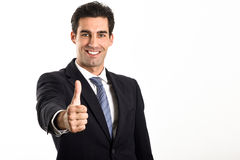 Businessman with thumb up on white background Stock Photography