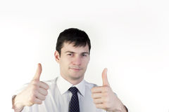 Businessman with thumbs up Royalty Free Stock Image
