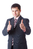 Businessman with thumbs-up Stock Photos