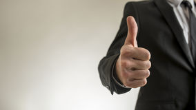 Businessman thumbs up with copy space Royalty Free Stock Photo