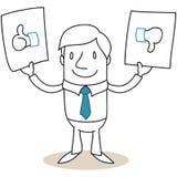 Businessman thumbs up down like dislike Stock Photo