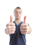 Businessman with thumbs up gesture Royalty Free Stock Photos