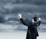 Businessman and thunderstorm Royalty Free Stock Photography