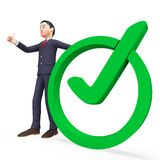 Businessman With Tick Represents Approved Executive And Mark Royalty Free Stock Images