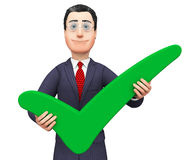 Businessman With Tick Represents Trade Confirmed And Executive Royalty Free Stock Photography