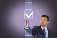 Businessman Ticking Check Box. Working Conceptual Business Concept Royalty Free Stock Image