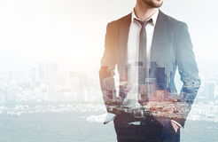 Businessman with tie in city Stock Photography