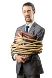 Businessman tied up. On white Stock Images