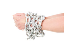 Businessman tied up with chain Royalty Free Stock Photography
