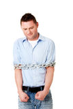 Businessman tied up with chain Stock Photos