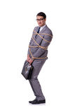 The businessman tied up with rope isolated on white Stock Images