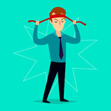 The businessman ties up a bandage on his head. Vector illustration. Royalty Free Stock Photo