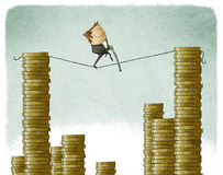 Businessman on a tightrope. Illustration of businessman on a tightrope Stock Photo