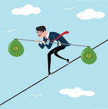 Businessman tightrope walker with bag of money as a symbol of business risk and courage, brave step. Blue sky background. Unstable. Man holding a balance stick Royalty Free Illustration