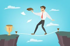 Businessman tightrope walker. Idea of risky and courage business Royalty Free Stock Image