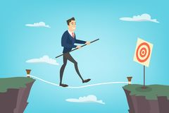 Businessman tightrope walker. Idea of risky and courage business Royalty Free Stock Images