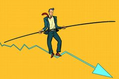 Businessman tightrope Walker. Pop art retro vector illustration Stock Photo
