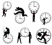 Businessman and Time Concepts. An illustration featuring an assortment of business-type people in various scenarios with clocks to represent concepts in time as Royalty Free Stock Photos