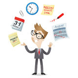 Businessman time management calendar icons Stock Photos
